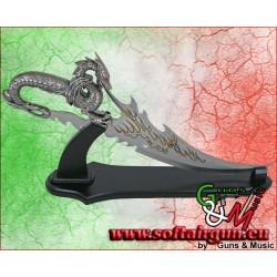 Pugnale Fantasy Drago con supporto il legno in metallo cm53