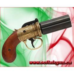 Revolver Inglese Pepper Box a 6 canne Denix in metallo e...
