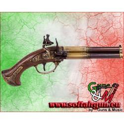 Pistola Francese a 3 canne rotanti sec. XVIII in metallo...