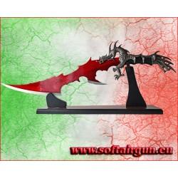 Pugnale Fantasy Drago lama rossa con supporto il legno 61 cm