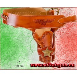 Cinturone Western leather holster with badge + 24...