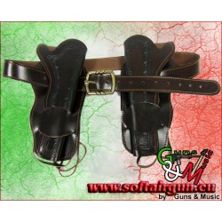 Cinturone in cuoio doppio stile Cowboy western reenactor...