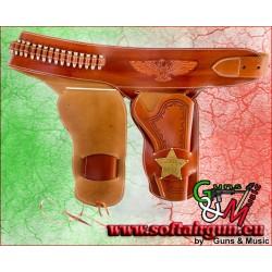 Cinturone in cuoio doppio Cowboy western con 24...